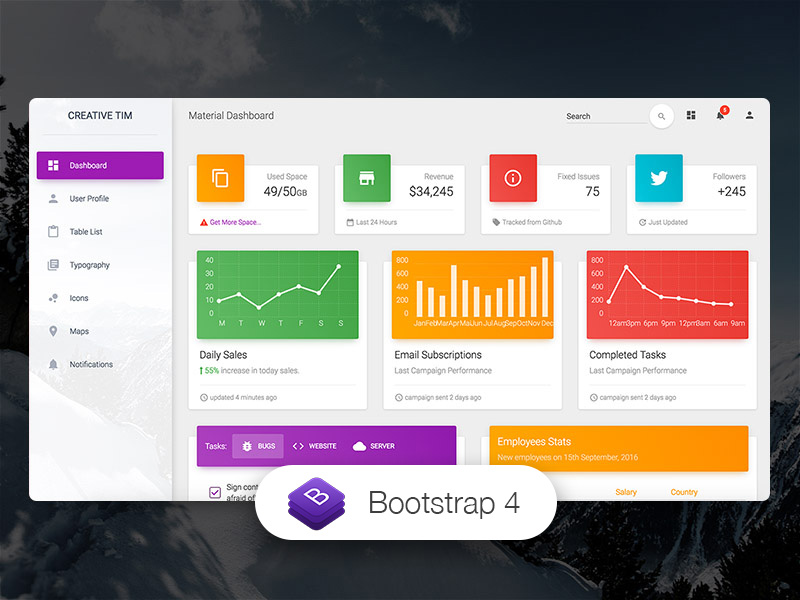 Material Dashboard by Creative Tim | Free Material Bootstrap Admin